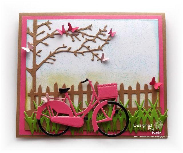 card with bicycle bike tree fence grass bird nest adventure travel journey #bikecard fence tree - Marianne design die - Karte Radtour