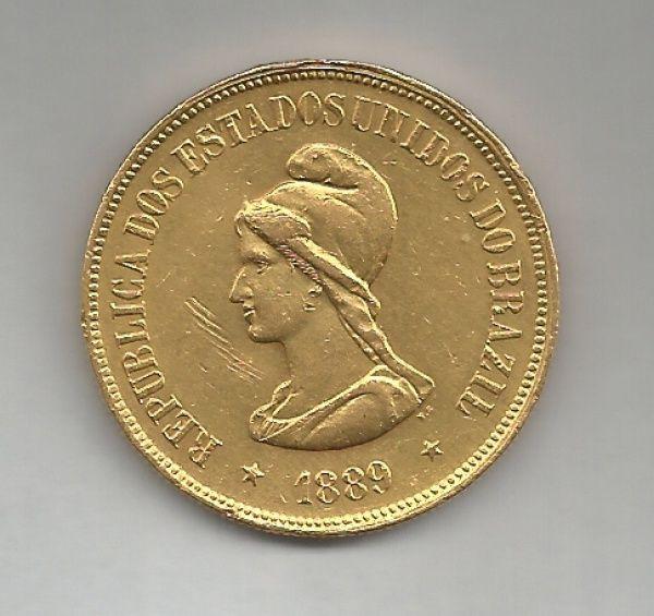 MOEDA DE OURO DO BRASIL REPUBLICA - 20.000 RÉIS - 1889 - MBC
