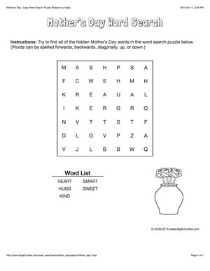Mother's Day word search puzzle with roses in a vase. 4 levels of difficulty. Word search changes each time you visit