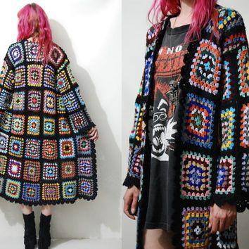 CROCHET Granny Square Jacket Sweater HANDMADE ooak Long Cardigan Knit Wool Bohemian Hippie Gypsy Rainbow XS S M