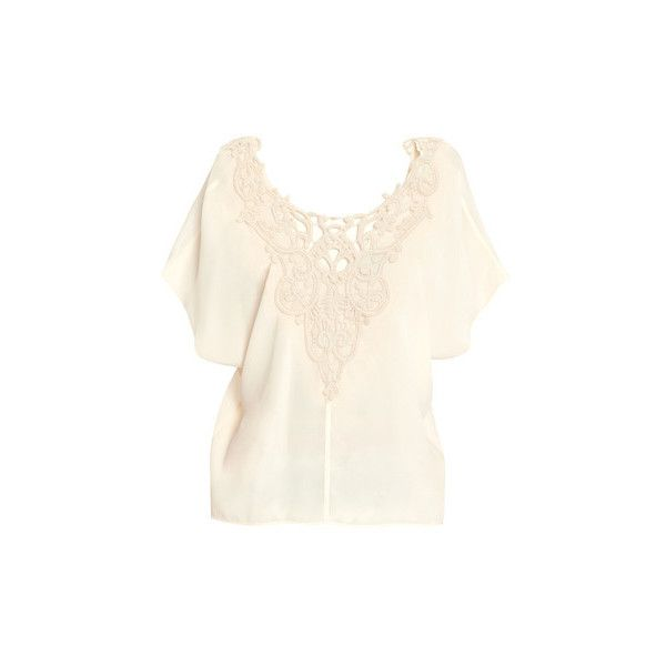 Forte Forte Front Emroidered Top ($325) ❤ liked on Polyvore featuring tops, cream, white silk top, white batwing top, forte forte, cream silk top and white embroidered top