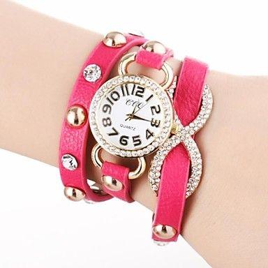 EUR € 8.99 - Mulheres de Ouro Dial longo Strap PU banda quartzo analógico relógio de pulso com strass (cores sortidas), Frete Grátis em Todos os Gadgets!