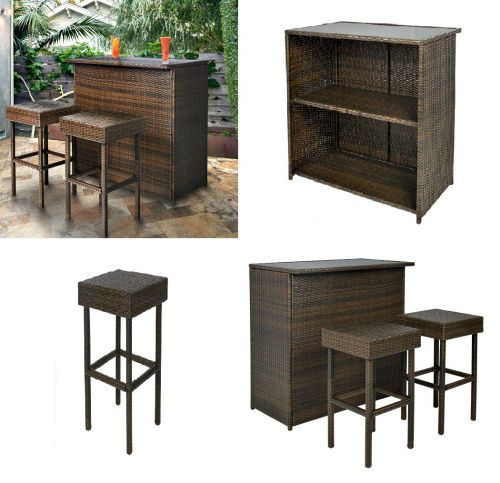 Wicker Outdoor Furniture Set Patio Bar Table & 2 Stools Rattan Backyard Pool Set #Unbranded