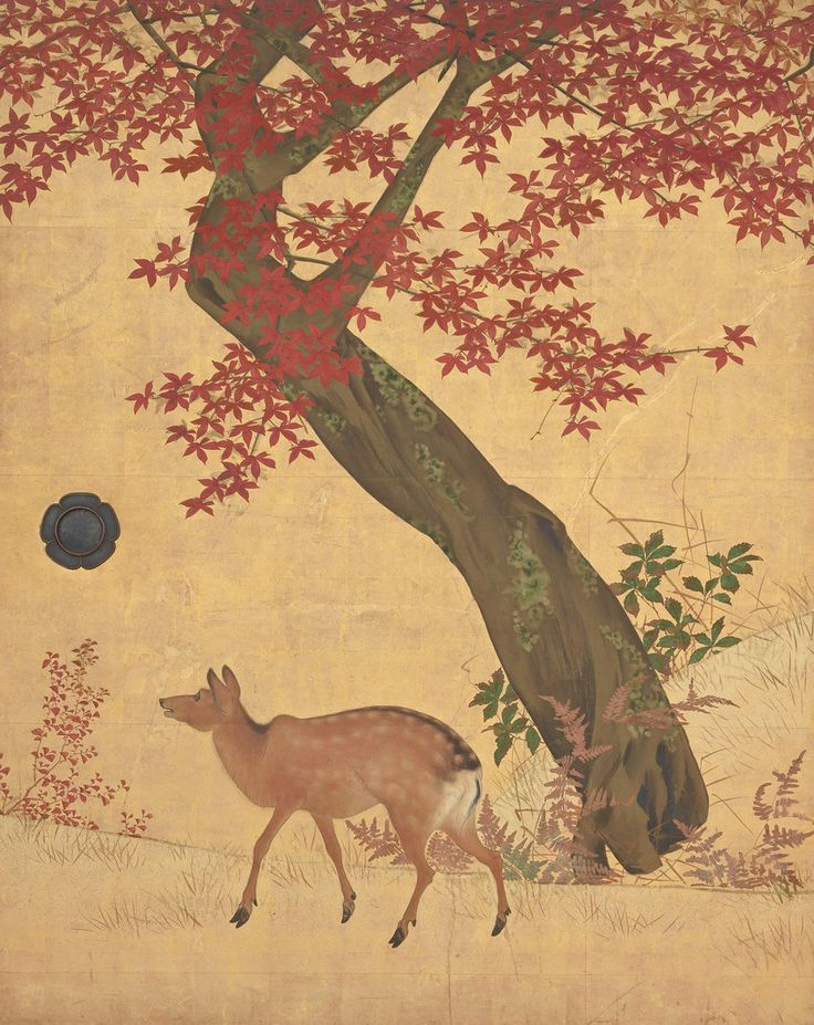 "japaneseaesthetics:   Main detail, ""Deer and Maples"".  Artist Mori Tetsuzan, about 1820's, Japan..  Feinberg Collection, MET"