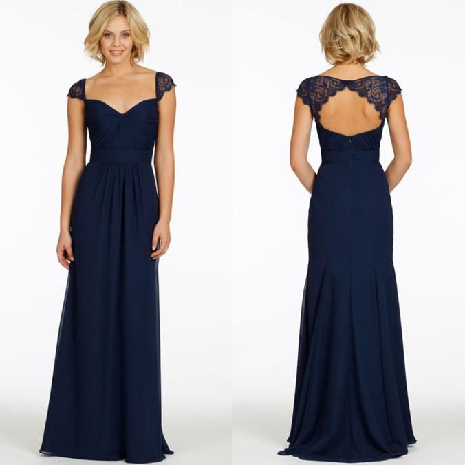 Wholesale cheap bridesmaid dresses online, 2015 spring summer - Find best navy blue lace bridesmaid dresses with sweetheart short sleeve backless chiffon long cheap jim hjelm 2015 wedding maid of honor girls gowns at discount prices from Chinese bridesmaid dress supplier on DHgate.com.