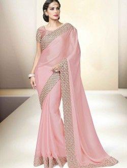 Party Wear Pink Satin Georgette Antique Work Saree