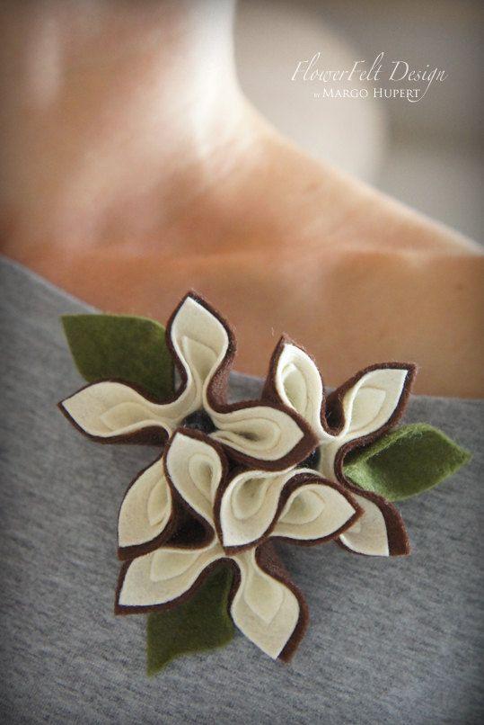 felt brooch tangerine brooch ecru flowers flower woman pin wedding eco friendly