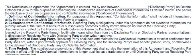 The Non-Disclosure Agreement: what am I signing?