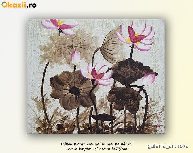 Flori moderne 14 - tablou ulei pe panza 60x50cm, An: 2014 - Okazii (170913388)