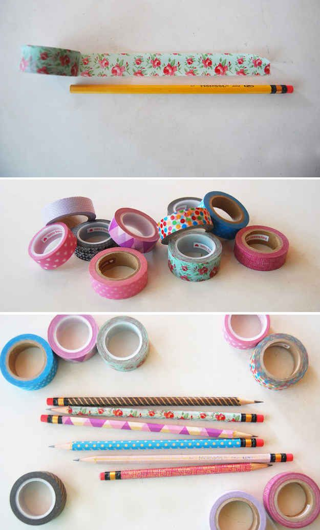 Washi Tape Pencils, Giveaway at Kids Party, use tape within the Birthdays colourscheme