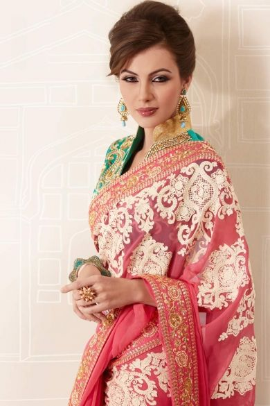 brink-pink-faux-georgette-embroidered-party-and-festival-saree. https://www.facebook.com/nikhaarfashions