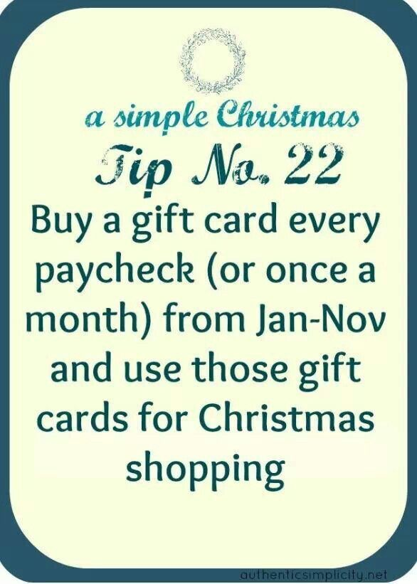 This is a GREAT budgeting tip for buying holiday gifts! Most gift cards don't have expiration dates so it's not a problem to save them til the year's end.