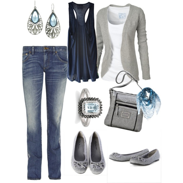 Cool & Cozy: Colors Combos, Dreams Closet, Style, Blue, Cute Casual, Outfit, Tanks Tops, Grey Sweaters, Gray