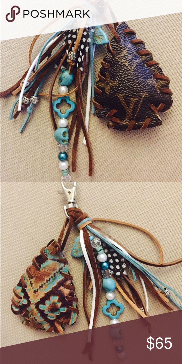 Upcycled Louis Vuitton keychain/purse charm Arrowhead design with turquoise, feather and silver accents Louis Vuitton Accessories