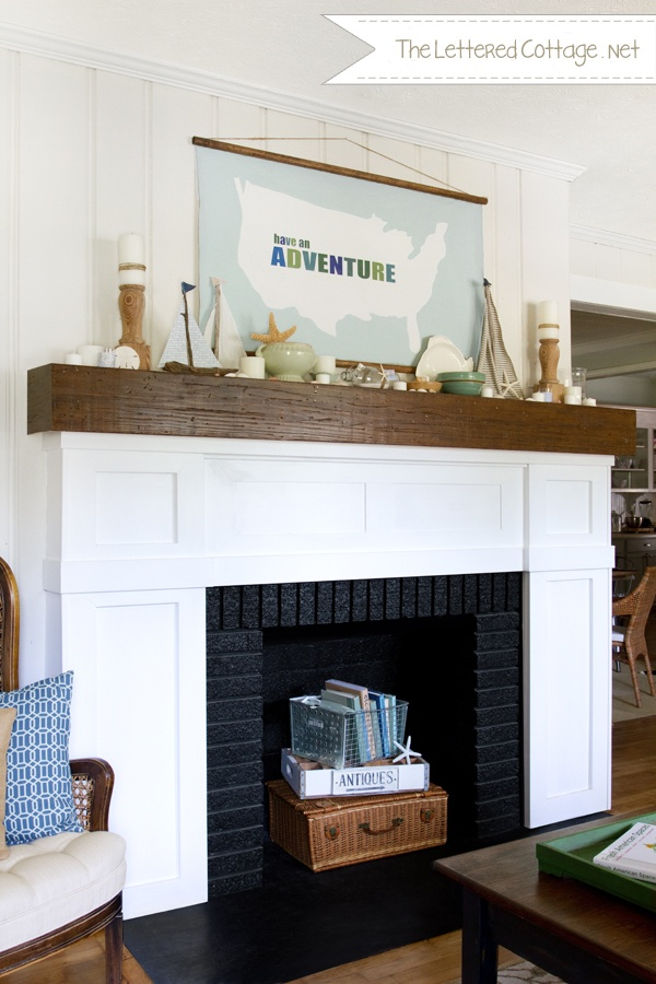 "love the ""have an adventure"" art!: Canvas Artworks, Summer Mantels, Mantel Decor, Fireplaces Updates, Summer Fireplaces Mantels, Mantels Ideas, Fireplaces Surroundings, Letters Cottages, Paintings Fireplaces"