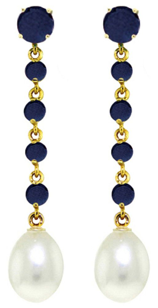 14K Solid Gold 10 Carat Natural Sapphire Pearl Earrings Wt 4.00g H 1.75in #GalaxyGold #Chandelier