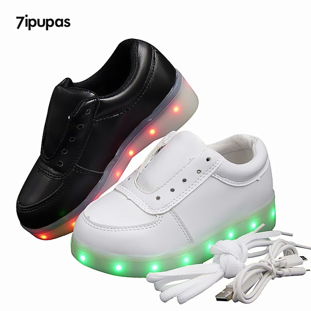 Best Deals $15.72, Buy 7ipupas Low Wholesale Price Luminous sneakers white black blue Graffiti 11 colors led lights glowing sneakers for boys girls kid