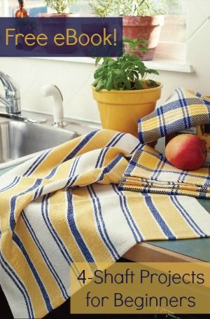 These projects are perfect free weaving patterns for beginners. Weave towels and placemats while you experiment with stripes, huck, and more!