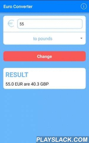 EuroConverter  Android App - playslack.com , Euroconverter is the perfect app for when you go traveling or you make a purchase on the Internet.It has a simple and intuitive design that makes it easy to handle.You can convert any value in euros to dollars GBP to SEK to pesetas, to yens, to francs ... among other currencies.