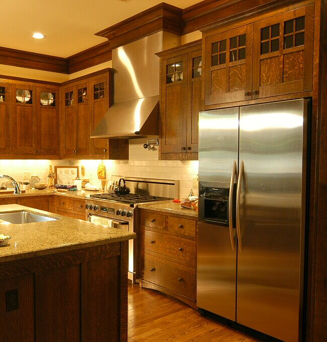 Quarter Sawn Oak Kitchen   Custom Arts U0026 Crafts Millwork By El Dorado  Woodworks   Heussner