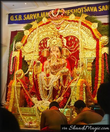 The GSB Seva Mandal is a 5-day idol that allows the worshipers to perform the poojas and in return serves them a meal.