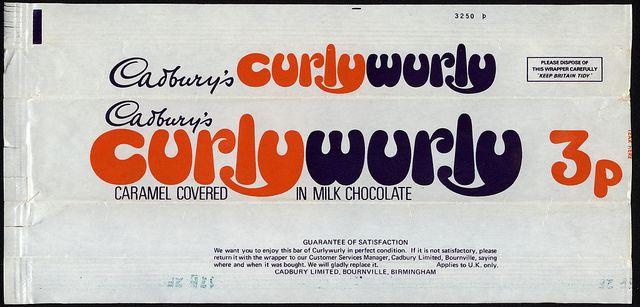 UK - Cadbury's CurlyWurly -Curly Wurly- 3p chocolate candy bar wrapper - 1970's by JasonLiebig, via Flickr