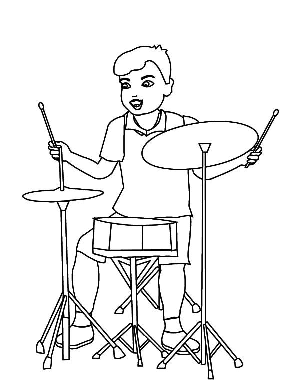 Drummer Boy Facing Simple Drum Set Coloring Pages : Kids