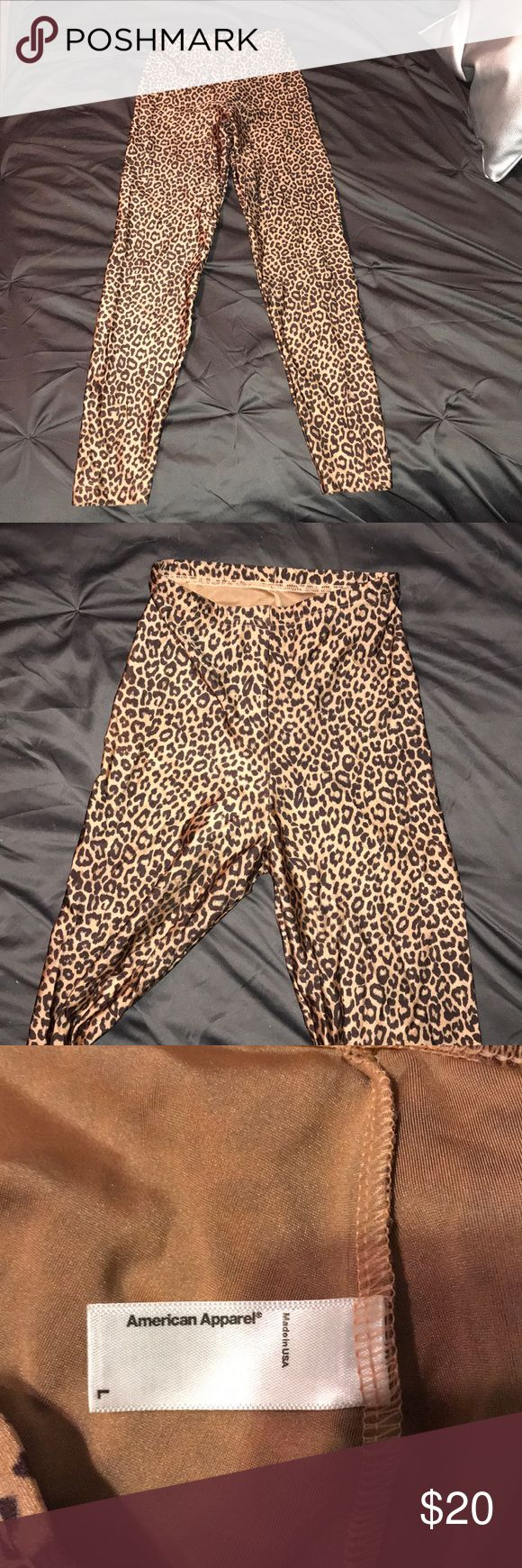 American Apparel cheetah tights Size large. Super stretchy tights American Apparel Pants Leggings