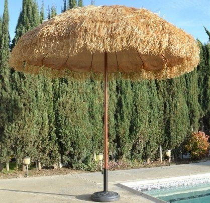 Amazon.com: Bayside21 - 8' Hula Thatched Tiki Umbrella Natural Color: Patio, Lawn & Garden