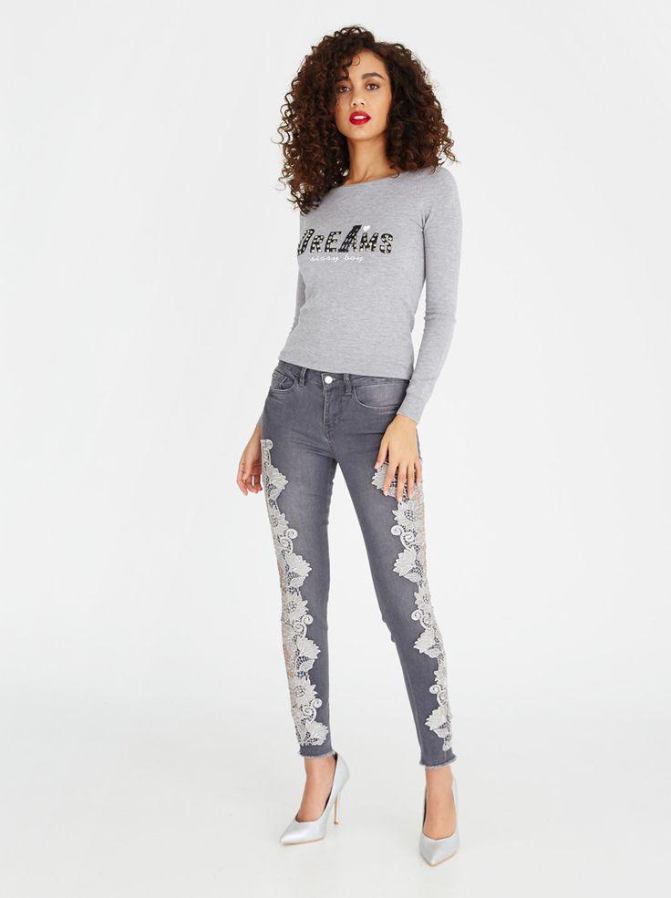 SISSY BOY Mikkel Skinny Jeans with Side Crochet Detail Grey