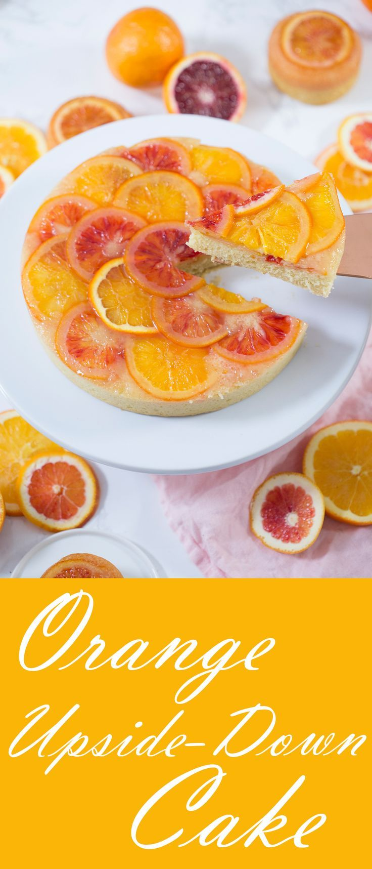 The ultimate orange upside-down cake made with fresh navel oranges and blood oranges. | #oranges #bloodoranges #recipes #cakes #bestcakes #easycakes #valentinesday #desserts #citrus #recipes