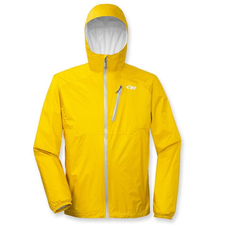An ultra-lightweight waterproof jacket protects from summertime downpours with high-tech fabric