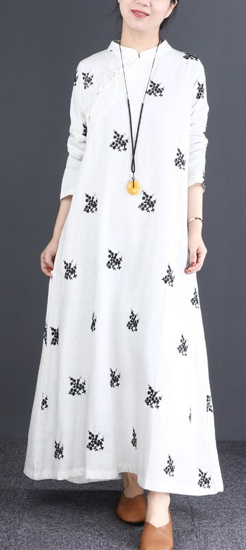 823de8f801 French stand collar Chinese Button cotton clothes For Women Vintage Work  white print Maxi Dress whitedress standcollardress cottondress