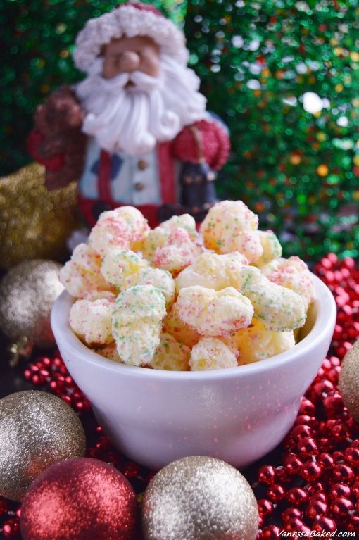 Christmas Corn Puffs are an easy no-bake treat. Using only 3 ingredients - Corn puffs, white chocolate and colored sugar sprinkles. Make a double batch!