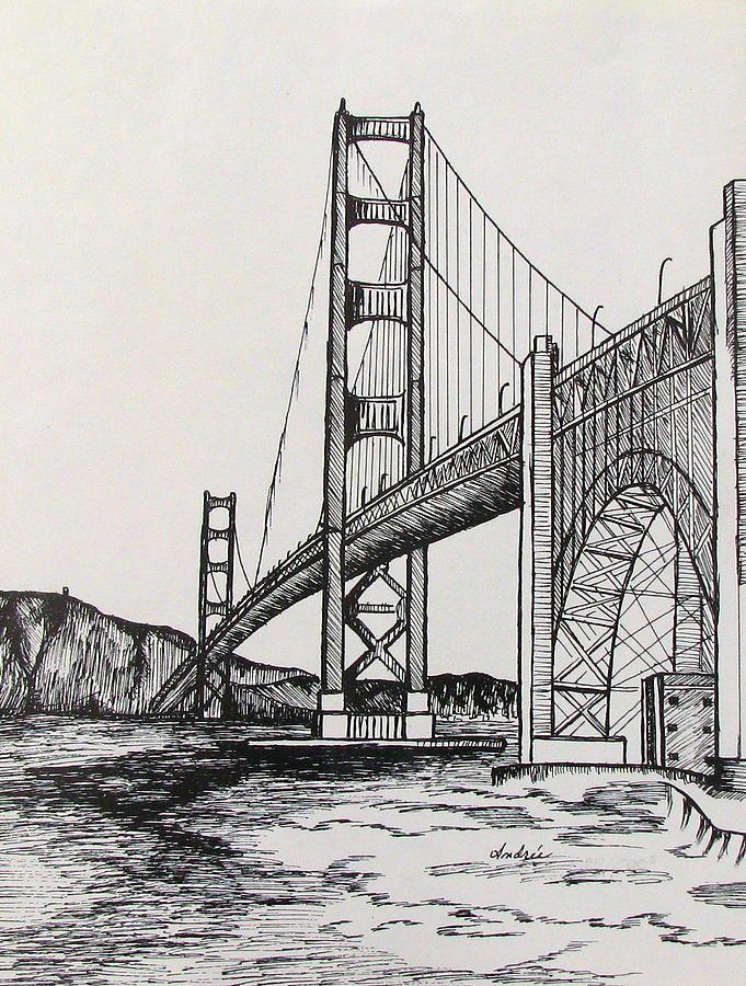 Golden Gate Bridge by Carol Nistle   Landscape drawings ...