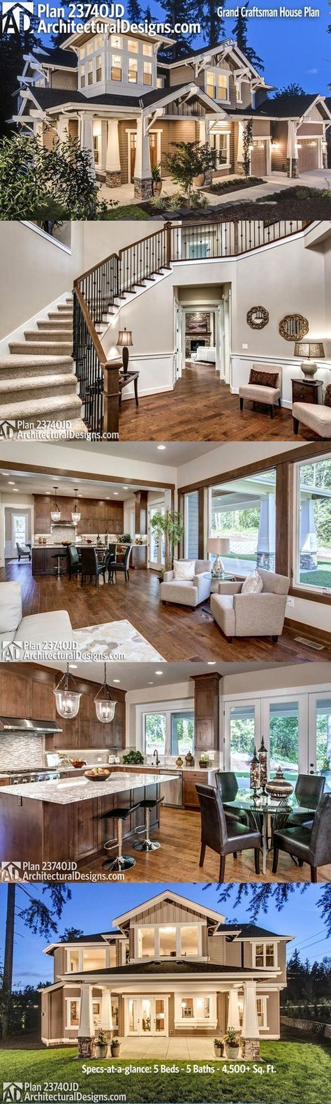Love the sweeping staircase in this place!  Craftsman House Plan 23740JD 5 beds, 5 baths and over 4,500 square feet of living space.