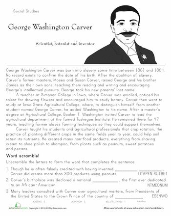 Worksheets: Historical Heroes: George Washington Carver