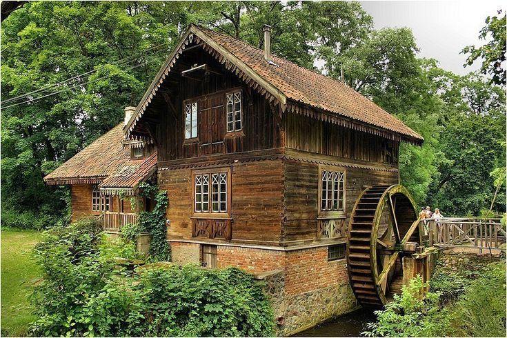 with water mill, skansen w Ciechanowcu, Poland