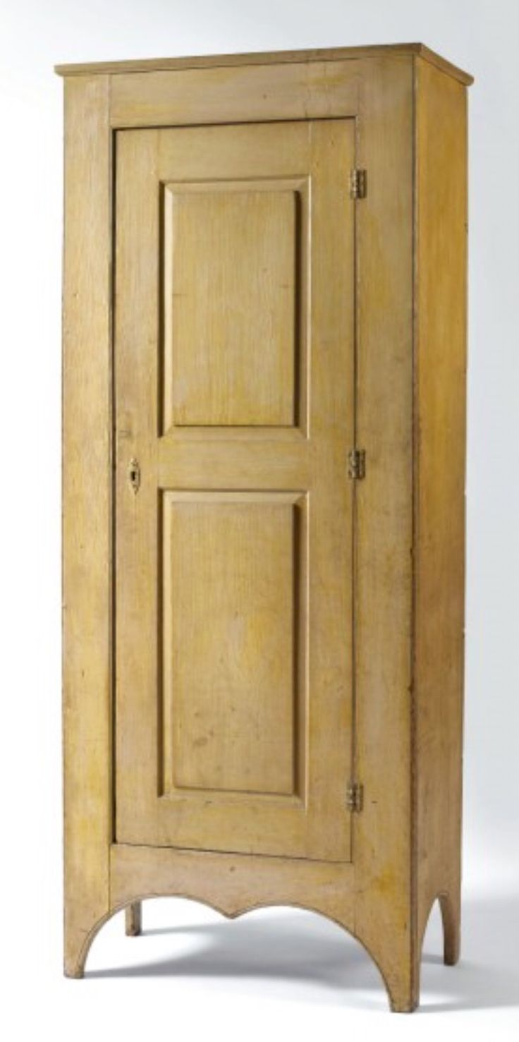 8/5-7/11. Lot # 697. Est. $8K-$12K. Sold: $18,880 ($16,000). NEW ENGLAND  YELLOW PAINTED PINE SINGLE-DOOR STANDING CUPBOARD WITH ARCHED CUT-OUT BASE,  C.1820. - 181 Best Crazy For Cupboards Images On Pinterest Primitive