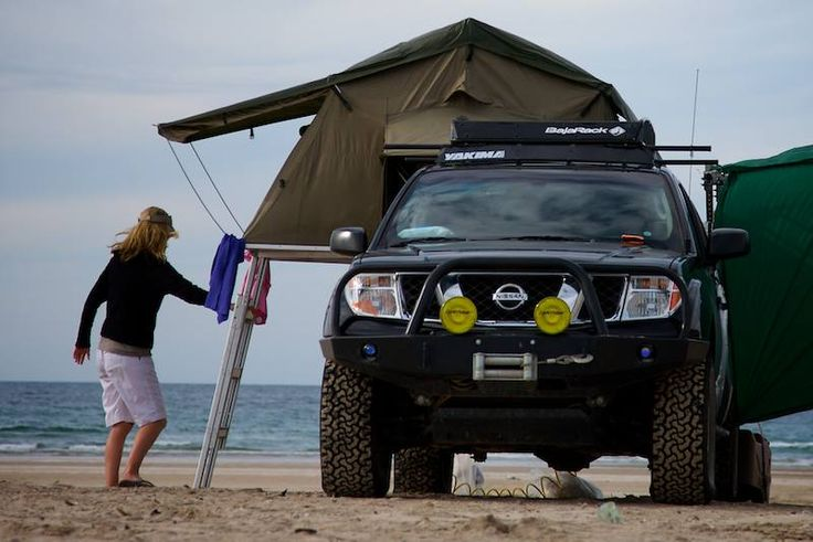 Eezi-Awn roof tent Nissan Frontier on the beach at Puerto Lobos
