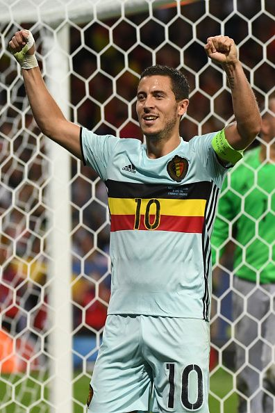 #EURO2016 Belgium's forward Eden Hazard celebrates after scoring his team's third goal during the Euro 2016 round of 16 football match between Hungary and...