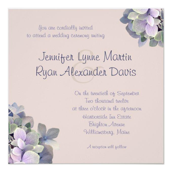 Dusty Lavender Square Hydrangea Wedding Invites