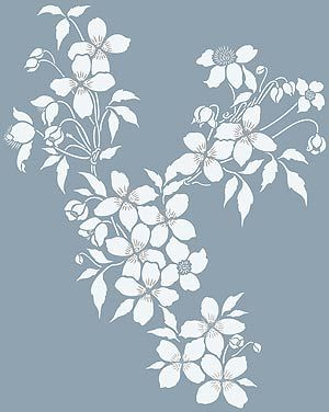Large Clematis Stencil Montana Clematis Theme Pack