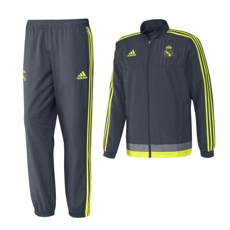 Tuta Adidas Real Madrid completo giacca e pantalone. Disponibile in diverse taglie 100% poliestere e con logo ricamato. #Pegashop, il tuo rivenditore di articoli sportivi.