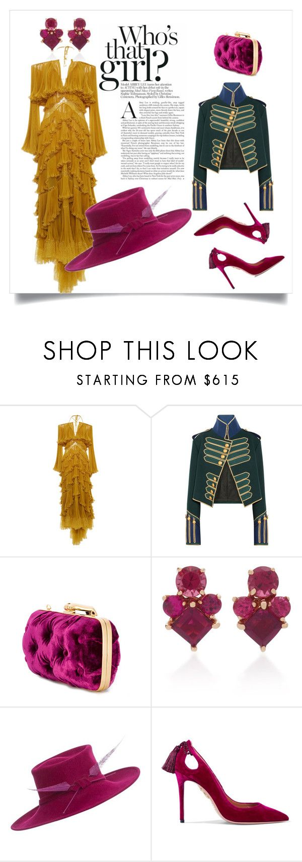 """""""Untitled #135"""" by gonal ❤ liked on Polyvore featuring Roberto Cavalli, Burberry, Benedetta Bruzziches, Jane Taylor, Philip Treacy, Aquazzura, polyvorecommunity, polyvoreeditorial, polyvorefashion and polyvoreset"""