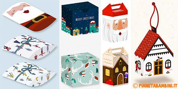 Tantissime scatoline regalo natalizie fai da te pronte da stampare su fogli di cartoncino A4, ritagliare e costruire per confezionare piccoli doni