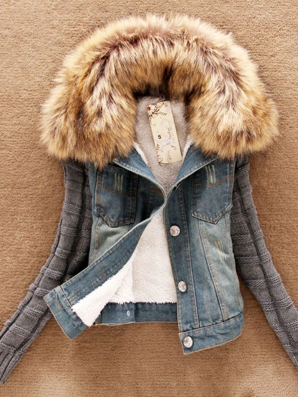 韓国風綿入れ ニット袖 デニムショートジャケット - レディースファッション激安通販 20代·30代·40代ファッション