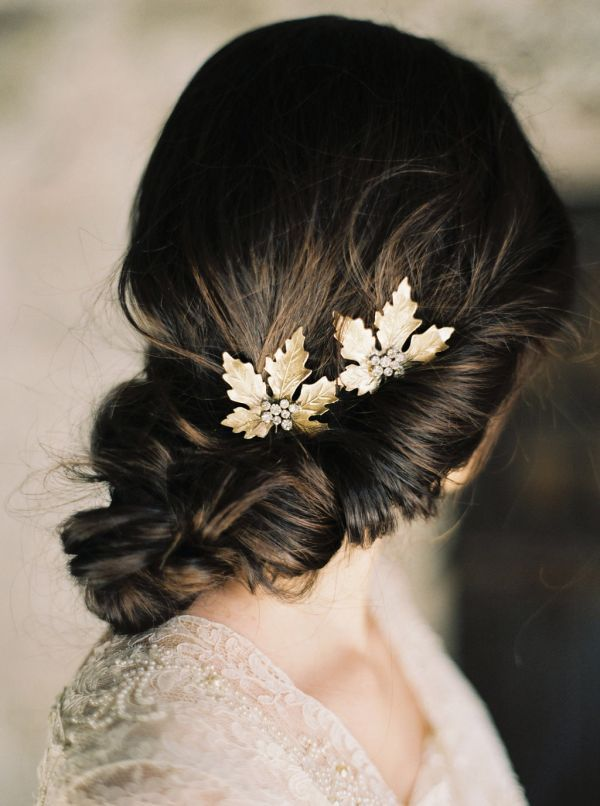Perfect for a fall bride, these elegant hairpins consist of golden maple leaves with hand-soldered rhinestone clusters.