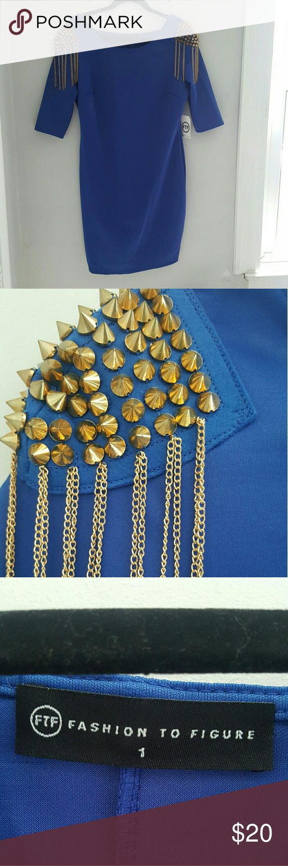 Plus size FTF Dress Blue plus size mini dress with gorgeous gold spike and chain shoulder embellishment. Perfect for a night out. Fashion to Figure Dresses Midi