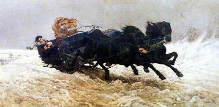Józef Chełmoński ( Chelmonski ) - Sleigh Ride